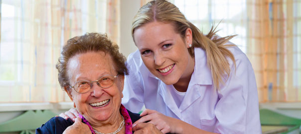 homecare nurse with elderly patient